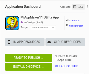 Mobile App Dashboard with publisher button