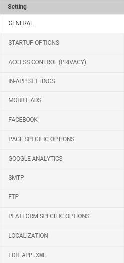 Application Settings table