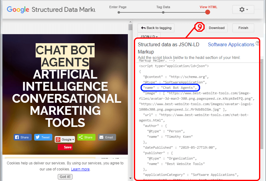 Google structured data markup tool.