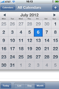 Screenshot of calendar on smartphone