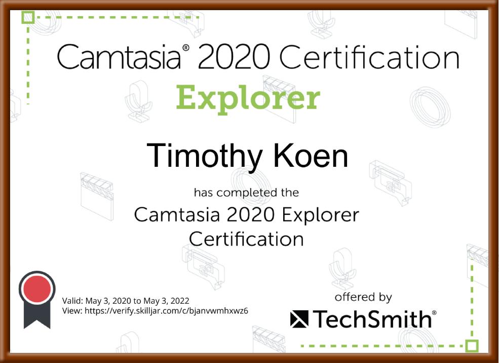 Camtasia 2020 Explorer certificate