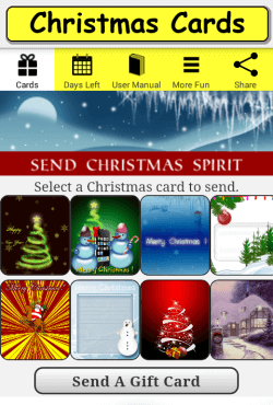 Christmas Cards screen