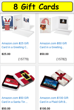 Gift Cards screen