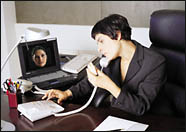 Lady working in home office