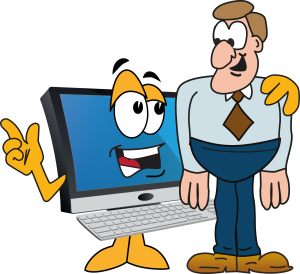Computer talking to man