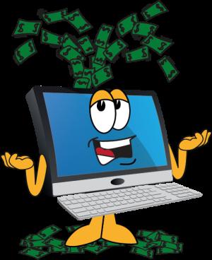 Computer spewing money like volcano
