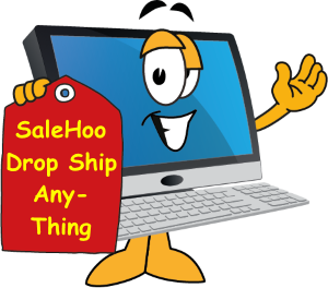 Computer with red tag says SaleHoo drop ship anything