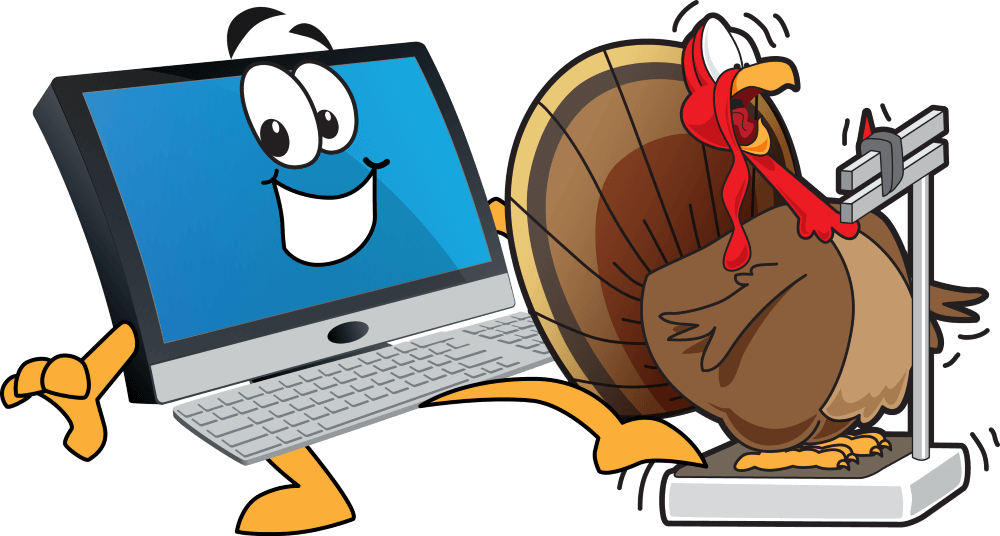 Computer weighing a turkey.