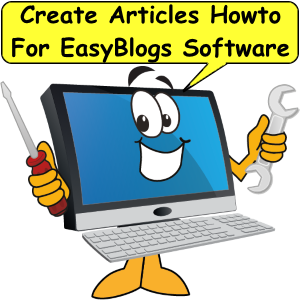 Computer saying create artilce howto in EasyBlogs Software