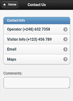 Screenshot of contact form
