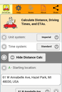 Drive Time Calculator page top