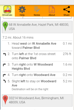 Drive Time Calculator route directions