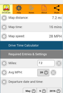 Drive Time Calculator Settings