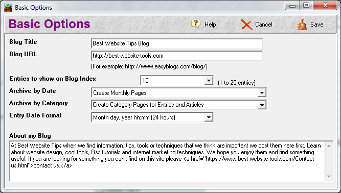 Easy Blogs Basic Options screen