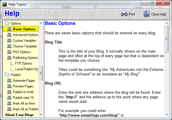 EasyBlogs basic options page