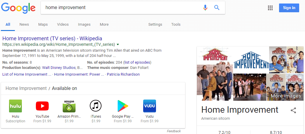 Home Improvement Search On Google