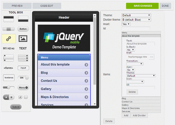 jQuery drag and drop editor