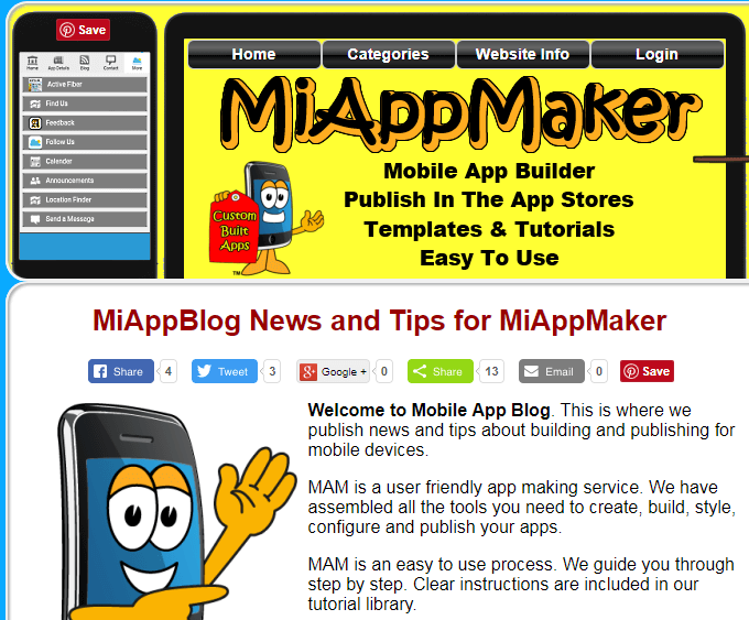 Miappmaker.com blog page.