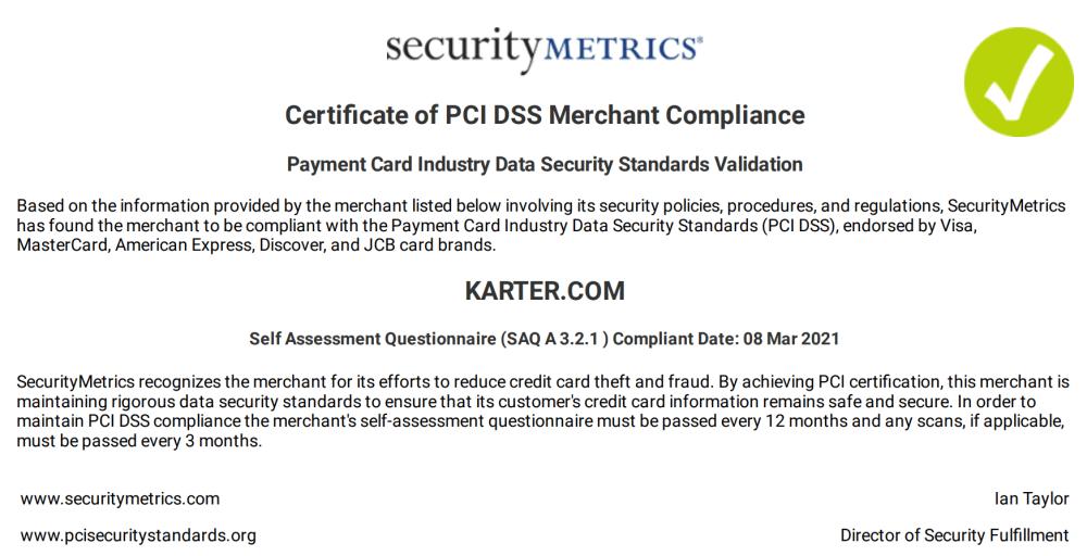 PCI DSS Compliance certificate