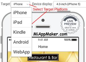platform selection menu