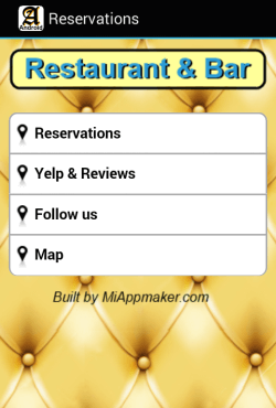 Reservations menu