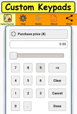 Custom Keypads screen