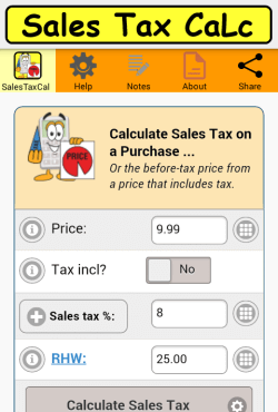 Sales Tax Calculator spash page