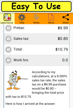 Sales Tax Calculator results page
