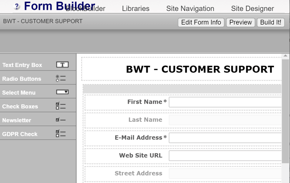 Point and click form builder with autoresponders follow up.