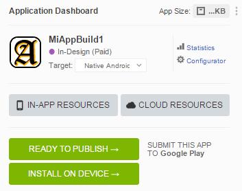 Screenshot of the mobile app editor