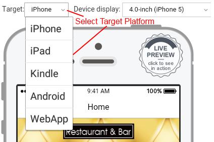 Platform selector for mobile app