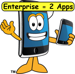 Smartphone sayying Enterprise = 2 apps