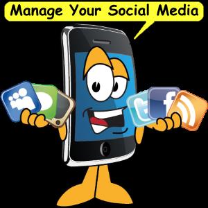 Smartphone cartoon holding social media icons