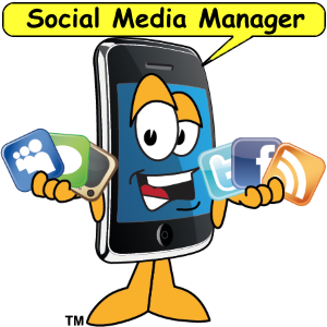 Smartphone cartoon holding social media icons