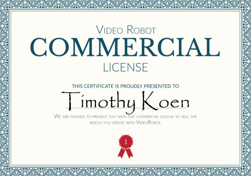 Video Robot commercial license