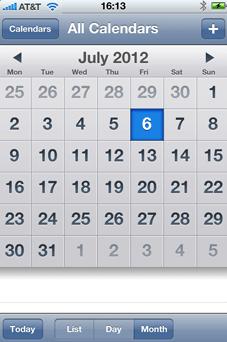 Screenshot of calendar on smartphone
