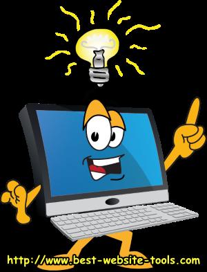 computer with idea light bulb