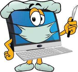 Computer doctor with scalpel