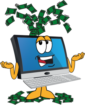 Computer spewing out money