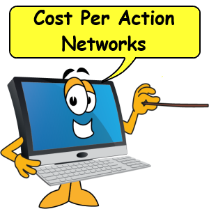 Computer with pointer saying cost per action networks