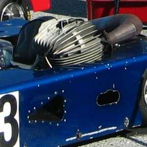 Close up of motor and kart in Daytona