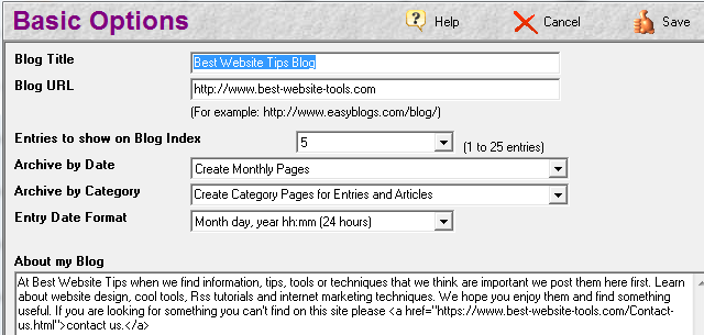 EasyBlogs basic options page