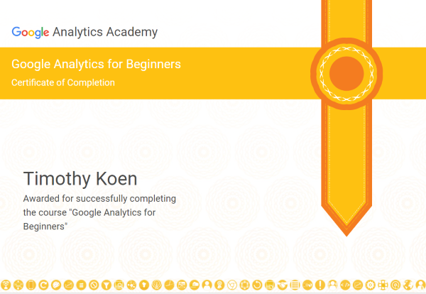 Google Analytics Certificate of Completion