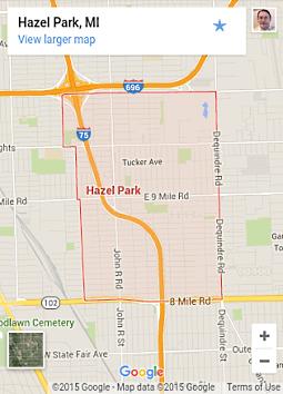 map of Hazel Park, MI.