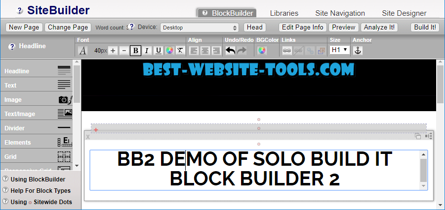 BB2 Demo page